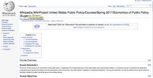 Screenshot of Eugenia Toma's course page on Wikipedia