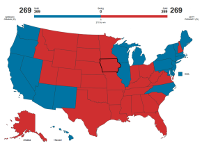 One possible way that both President Obama and Romney could tie with 269 Electoral votes. Click the photo to go an an interactive map and play with the states votes.
