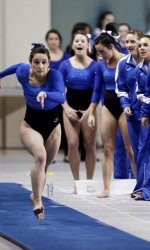 UK Gymnastics during a practice meet earlier in the semester. Courtesy of ukathletics.com.
