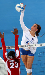 The UK volleyball team beat Louisville in five sets on Tuesday in Lexington's Memorial Coliseum. Photo by Chet White | UK Athletics