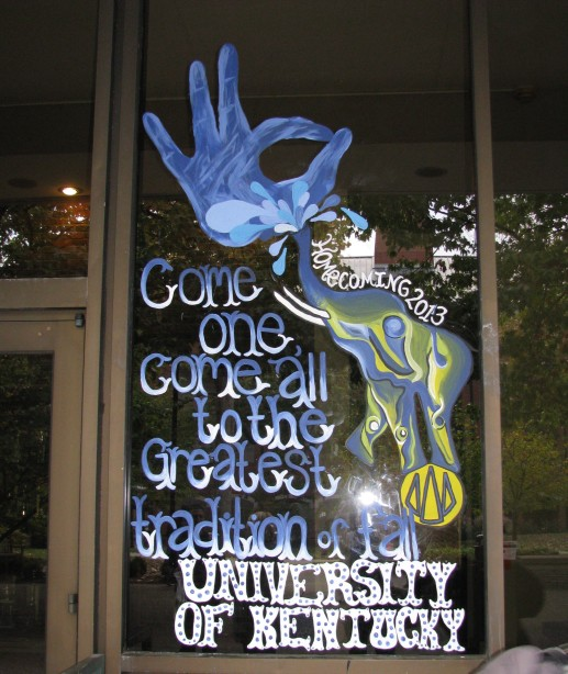 UK Homecoming window decorating