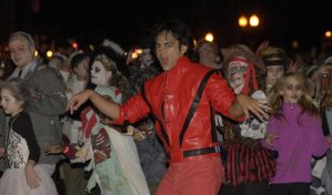 "Dancers get their ghoulish groove on during the 2011 ""Thriller"" dance in downtown Lexington. (Photo from kentucky.com)"