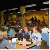 Students in dining hall.