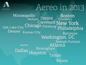 All of the cities Aereo serviced in 2013.