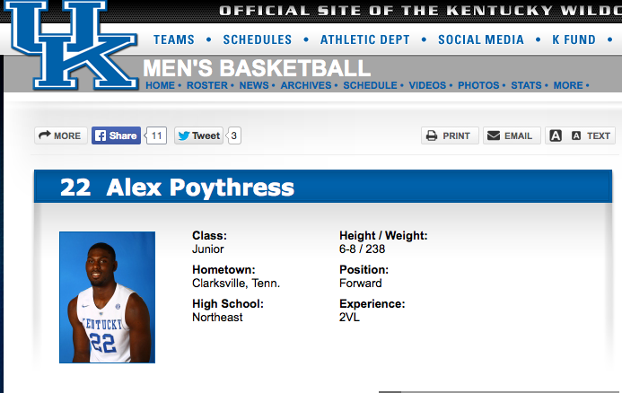 Alex Poythress Official Stats