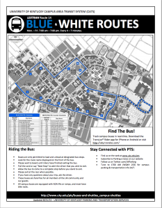 A map showing the stops along route 14 on both the blue and white routes. Image courtesy of LexTran's website.